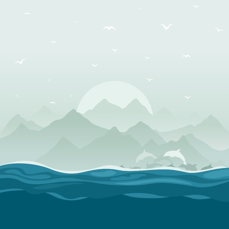 floats: The flight of dolphins floats in the sea  A vector illustration