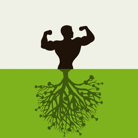 The man grows from the earth  A vector illustration Vector