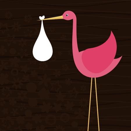 cigogne: La cigogne rose est l'enfant Une illustration vectorielle