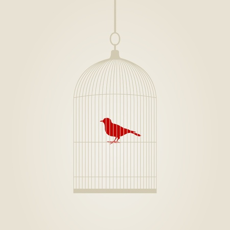 Red bird in a cage. A vector illustration Vector