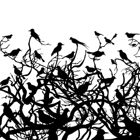 Birds sit on a tree. A vector illustration Illustration