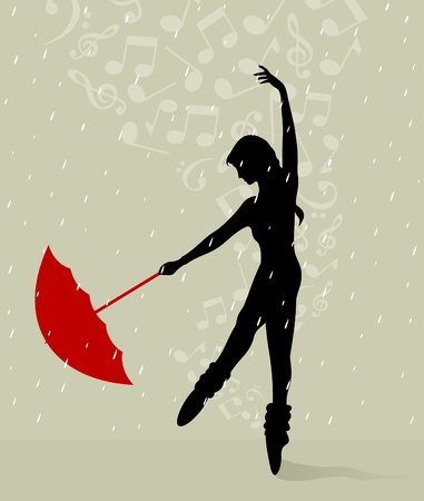 The girl dances with an umbrella. A vector illustration Stock Vector - 12892396