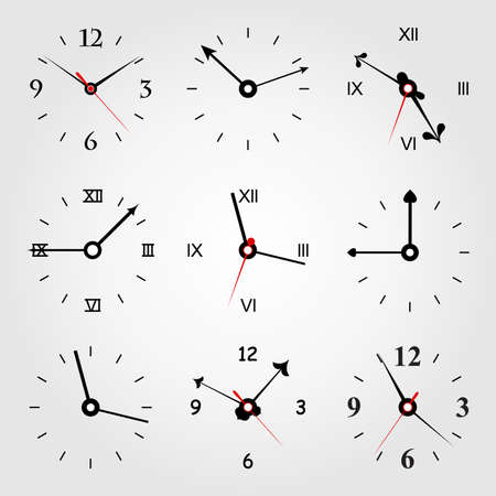 readout: Set of dials of hours. A vector illustration