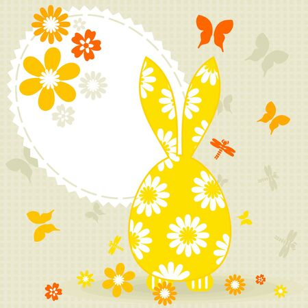 Easter card with a hare  A vector illustration Stock Vector - 12892424