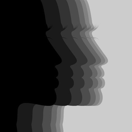 eyelashes: Silhouette the person of the girl  A vector illustration