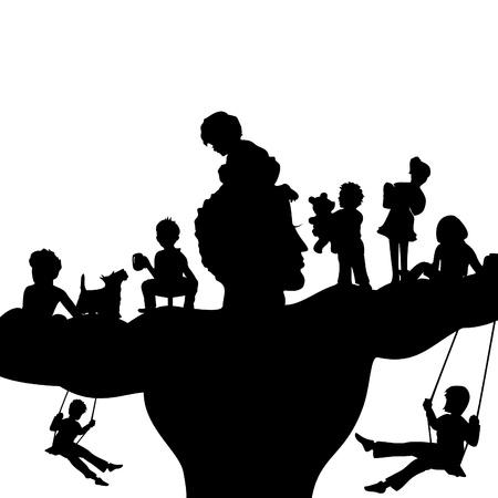 perro familia: El padre y sus hijos una ilustración vectorial