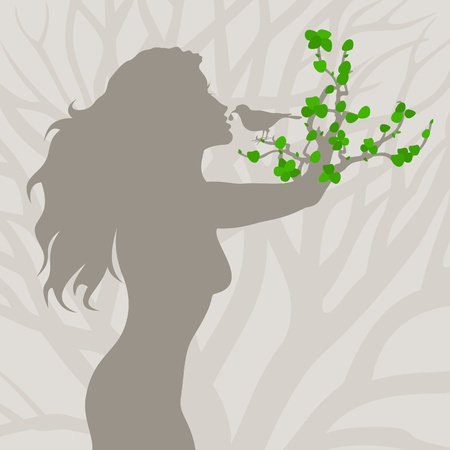 The girl a tree is given to drink by a bird  A vector illustration Vector