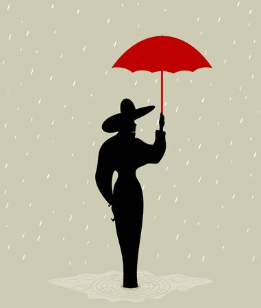 The girl with a red umbrella  A vector illustration Vector