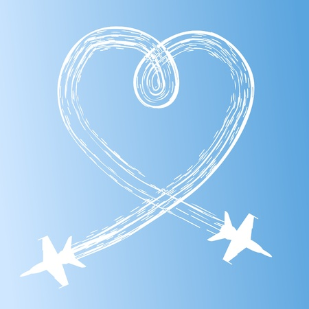Heart in the sky from planes  A vector illustration