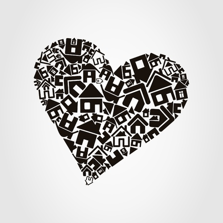 Heart made of houses  A vector illustration Illustration