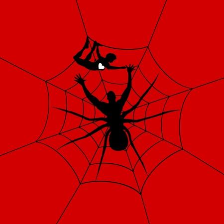 simbolo uomo donna: L'uomo un ragno ha catturato la ragazza Una illustrazione vettoriale