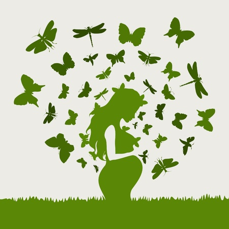 thoughtfulness: From the pregnant girl butterflies fly  A vector illustration