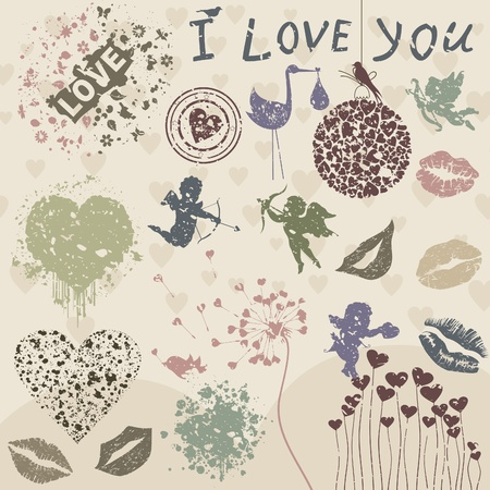 love image: Set on a love theme  A vector illustration
