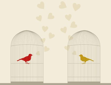 Birds sing about love in a cage illustration