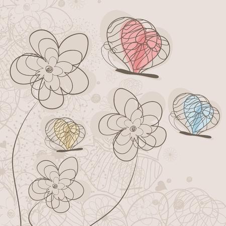 mosca caricatura: La mariposa vuela a una ilustración de flores