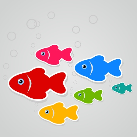 The flight of fishes floats on a grey background illustration Vector