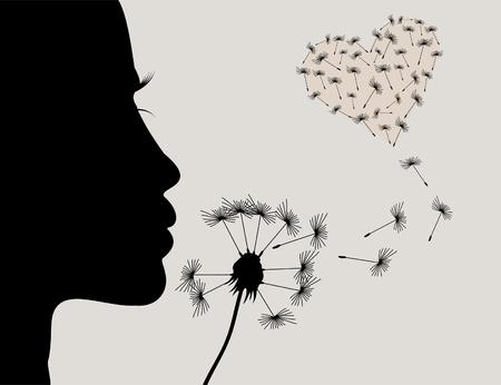 blowing dandelion: La ragazza soffia su un fiore di un dente di leone illustrazione Vettoriali