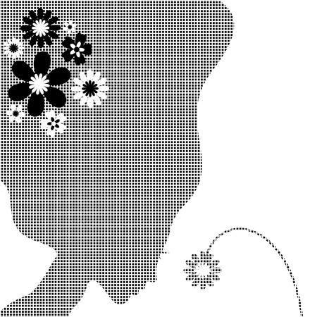 The girl smells a flower illustration Stock Vector - 13023635