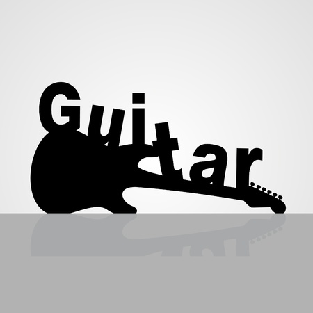 stratocaster: Inscription a guitar on a guitar illustration Illustration