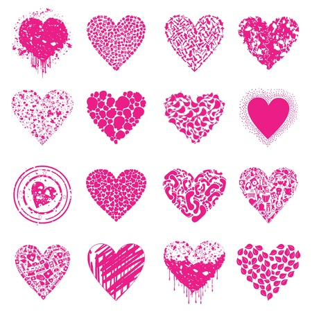 stoned: Set of icons of Pink hearts illustration Illustration
