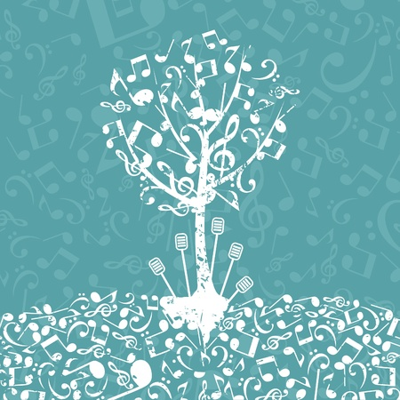 Tree from musical notes illustration Vector
