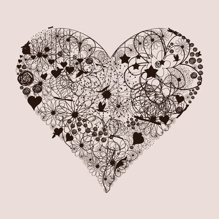 vintage style: Heart from plants and a flower illustration Illustration