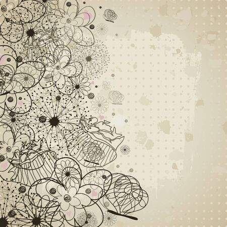 Retro a flower background illustration Stock Vector - 13023854