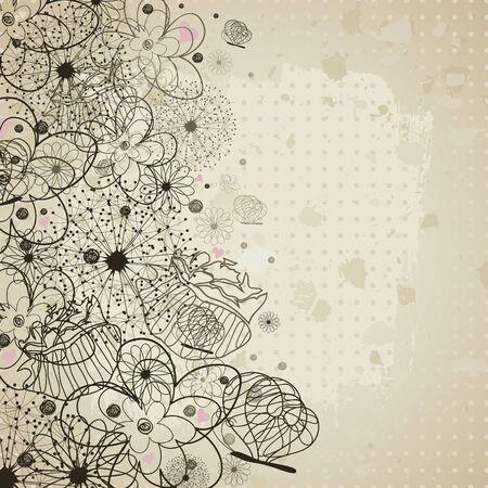 Retro a flower background illustration Stock Vector - 13023854