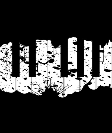 Touches de piano sur une illustration sur fond noir