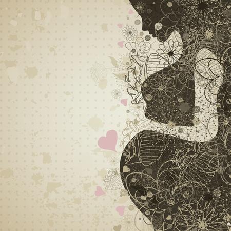 test de grossesse: La jeune fille enceinte dans une illustration de fleur