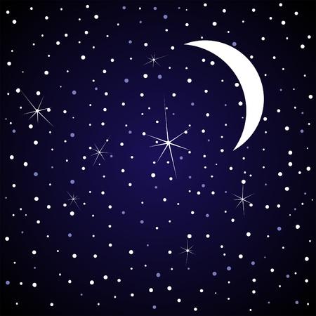 noche y luna: La luna en la ilustraci�n de cielo nocturno
