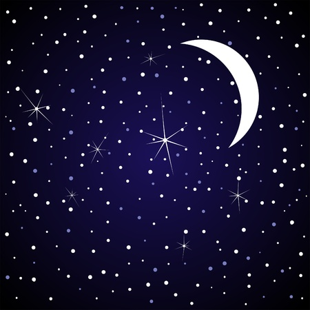 The moon in the night sky illustration Stock Vector - 13023676
