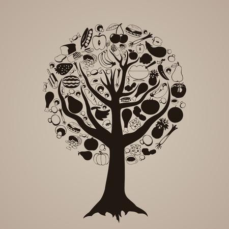 tomate de arbol: Árbol de Brown de la ilustración de alimentos