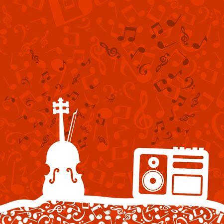 Violin and the tape recorder illustration Illustration