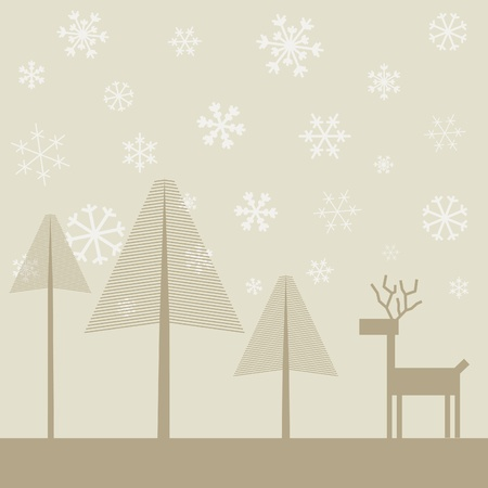 headwaters: Snow in winter wood  A vector illustration Illustration