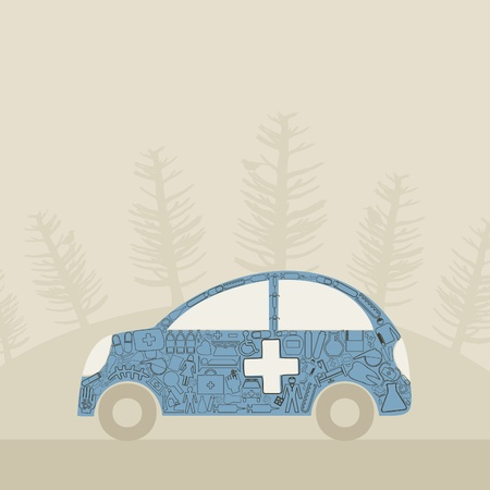 The medical aid car  A vector illustration Vector