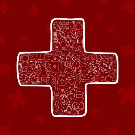 bandaging: White cross on a red background  A vector illustration
