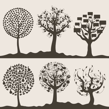 Silhouettes of trees on a white background  A vector illustration Vector
