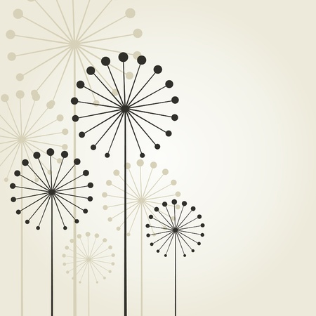 flowers fluffy: Abstract flower on a grey background. A vector illustration