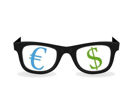 Dollar and euro in Glasses. A vector illustration Stock Vector - 13172875