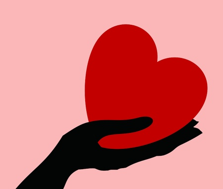 directly: Red heart in a hand. A vector illustration Illustration
