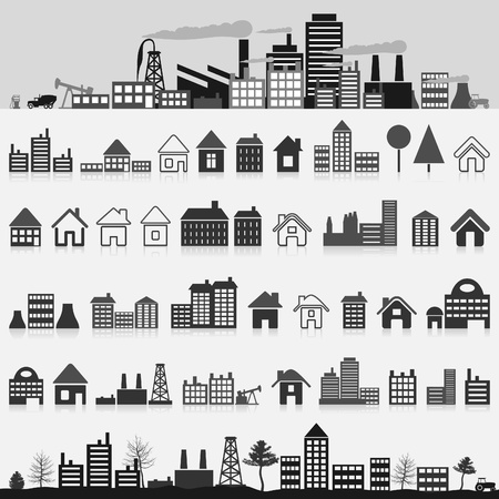 suburb: Set of icons of houses. A vector illustration Illustration