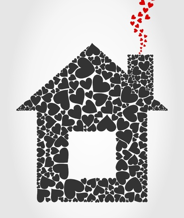 The house collected from hearts. A vector illustration Vector