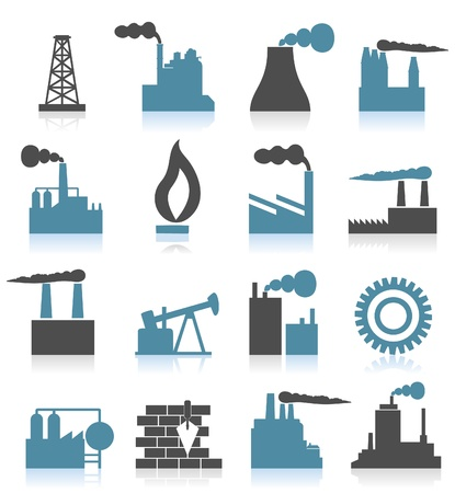 Set of icons on a theme the industry. A vector illustration Vector