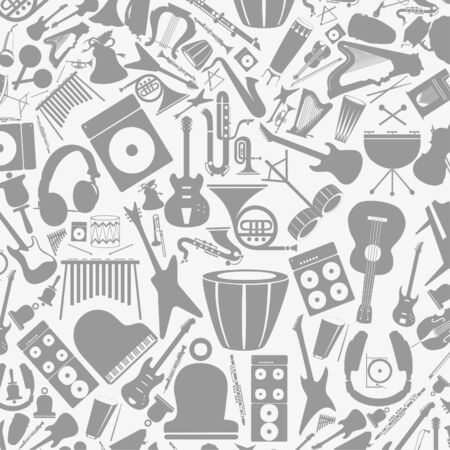 ear phones: Background from musical instruments  A vector illustration