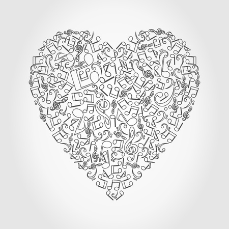 Heart collected from musical notes  A vector illustration Vector