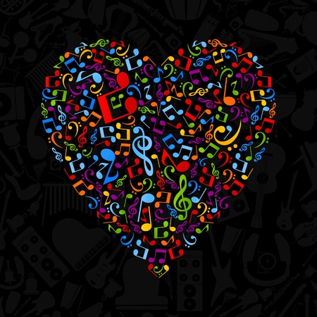 religious music: Heart made of musical notes  A vector illustration Illustration