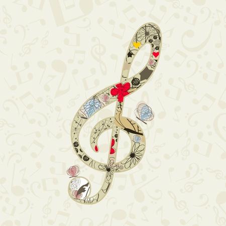 music design: Clave musical de algunas flores y mariposas Una ilustraci�n vectorial