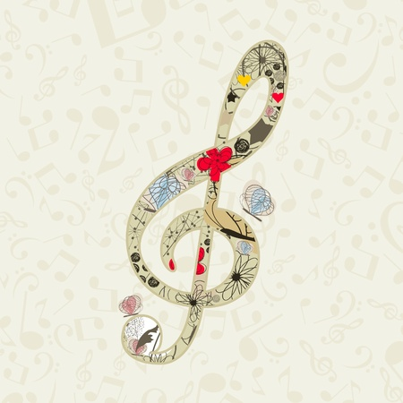 note card: Musical key from a flowers and butterflies  A vector illustration