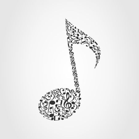 The note made of musical notes  A vector illustration